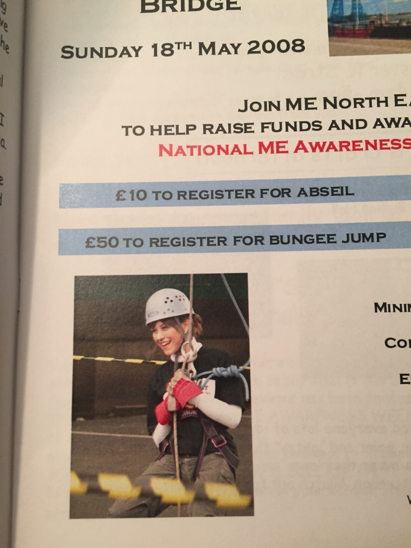 This is a picture of me after I abseiled from the Tyne Bridge to raise money for the local CFS support group. That was 5 years after my recovery.